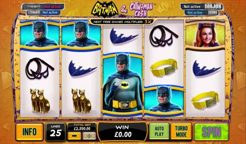 Batman and Catwoman Cash Review Slots Main game board featuring five reels and 25 paylines with a progressive jackpot max payout