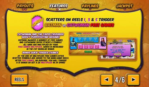 Batman and Catwoman Cash Review Slots Bonus scatters on reels 1, 3 and 5 trigger Batman vs Catwoman free games