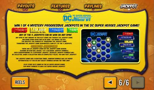 Batman and Catwoman Cash Review Slots DC Super Heroes Jackpot Game Rules - Win 1 of 4 Mystery Progressive Jackpots in the DC Super Heroes Jackpot.