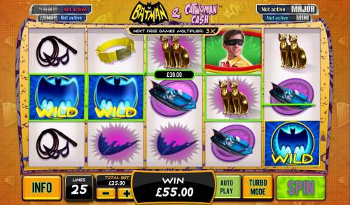 Batman and Catwoman Cash Review Slots A pair of wild symbols triggers multiple winning paylines.