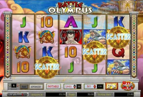 Battle for Olympus Review Slots three scatter symbols triggers 50 coin payout