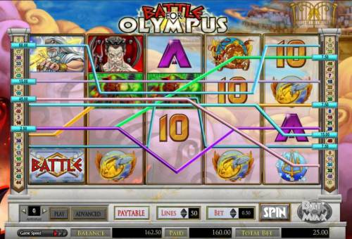 Battle for Olympus Review Slots another multiline 160 coin big win