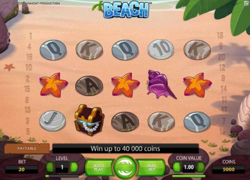 Beach Review Slots main game board featuring five reels and twenty paylines. win up to 40000 coins