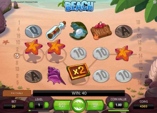 Beach Review Slots a 40 coin jackpot was triggered after the octopus wild swapped the two symbols
