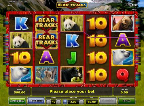 Bear Tracks Review Slots A bear adventure themed main game board featuring five reels and 40 paylines with a $80,000 max payout