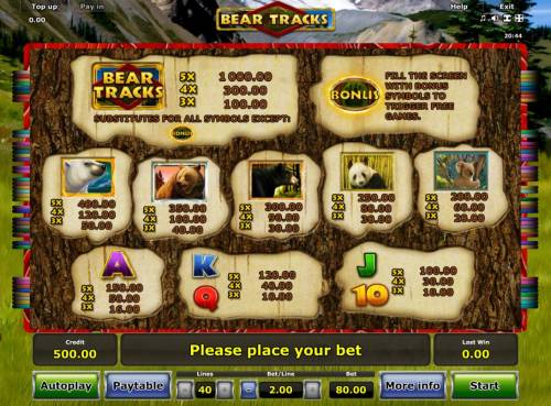 Bear Tracks Review Slots Slot game symbols paytable featuring bear inspired icons.