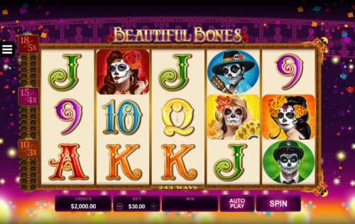 Beautiful Bones Review Slots Main game board featuring five reels and 243 ways to win with a $15,000 max payout.