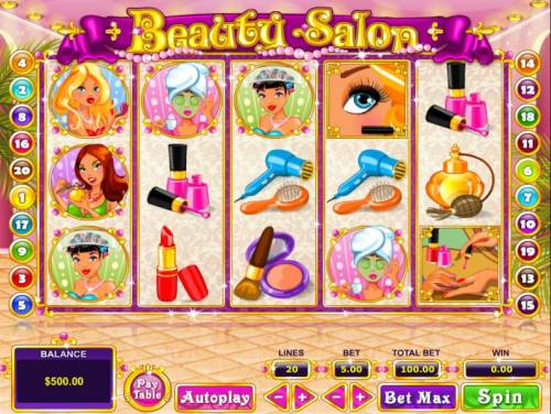 Beauty Salon Review Slots Main game board featuring five reels and 20 paylines with a $40,000 max payout