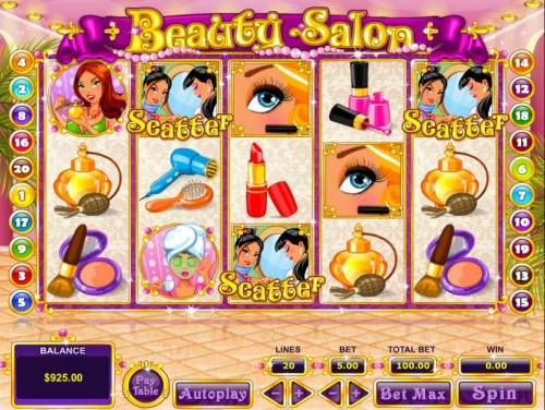Beauty Salon Review Slots Three scatter symbols anywhere triggers the free spins bonus feature.