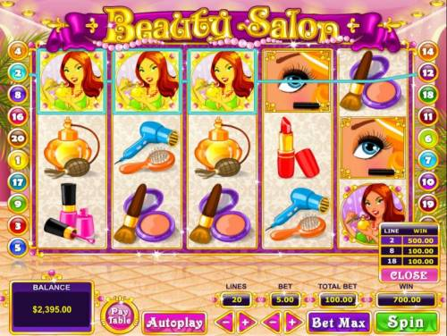Beauty Salon Review Slots Multiple winning paylines triggers a big win!
