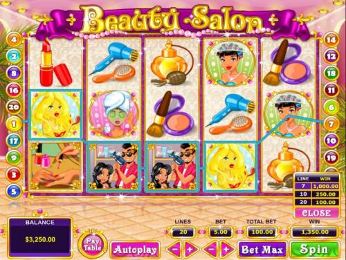 Beauty Salon Review Slots A four of a kind leads to a 1,000 line payout
