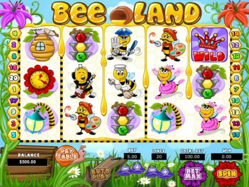 Bee Land Review Slots Main game board featuring five reels and 20 paylines with a $25,000 max payout
