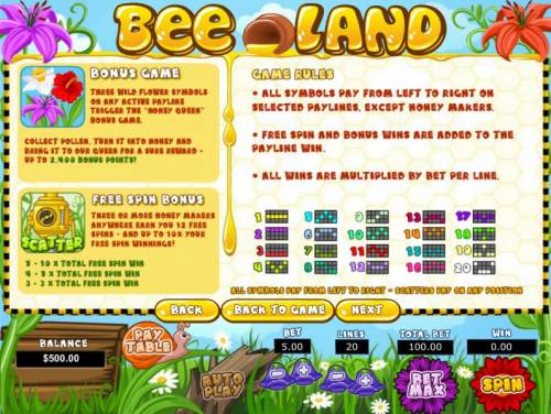 Bee Land Review Slots 3 wild flower symbols on any active payline trigger the Honey Queen bonus game. 3 or more honey makers symbols anywhere earn you 12 free spins - and up to 10x your free spin winnings.
