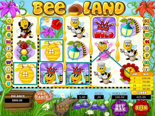 Bee Land Review Slots An awesome 425.00 jackpot triggered by multiple winning combinations.