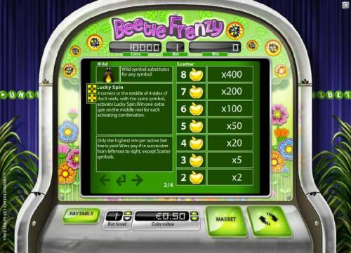 Beetle Frenzy Review Slots wild, lucky spin and scatter rules