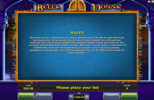 Bella Donna Review Slots General Game Rules