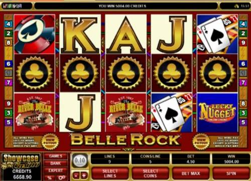 Belle Rock Review Slots A casino themed main game board featuring five reels and 9 paylines with a $300,000 max payout