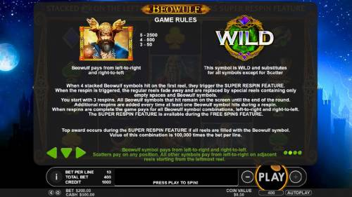 Beowulf Review Slots Beowulf and Wild symbols rules