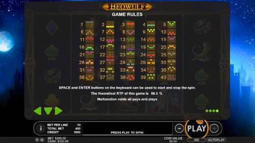 Beowulf Review Slots Payline Diagrams 1-40. The theoretical RTP of this game is 96.5%