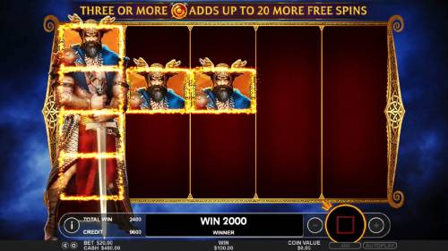 Beowulf Review Slots Super Respins feature pays out 2000 coins during the free games feature.