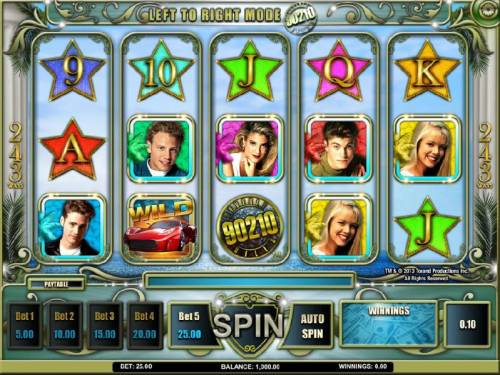 Beverly Hills 90210 Review Slots main game board featuring five reels and 243 ways to win