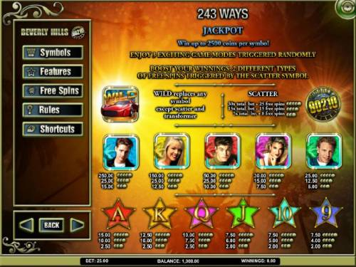 Beverly Hills 90210 Review Slots slot game symbols paytable