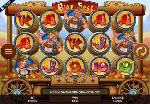 Bier Fest Review Slots Main game board featuring five reels and 25 paylines with a $250,000 max payout