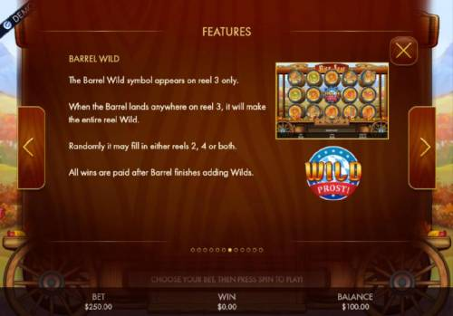 Bier Fest Review Slots Barrel Wild - The Barrel Wild symbol appears on reel 3 only. When the Barrel Wild linads anywhere on reel 3, it will make the entire reel wild. Randomly it may fill in either reels 2, 4 or both.