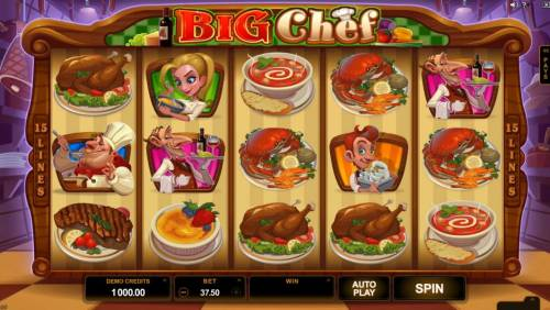Big Chef Review Slots Main game board featuring five reels and 15 paylines with a $375,000 max payout