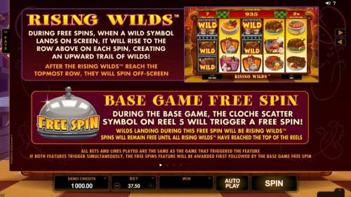 Big Chef Review Slots Rising Wilds game rules and Base Game Free Spin feature tules