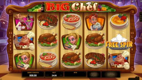 Big Chef Review Slots Free Spin symbol triggers one free spin.