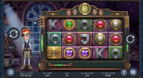 Big Time Journey Review Slots Main game board featuring five reels and 25 paylines with a $6,000 max payout