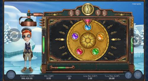 Big Time Journey Review Slots The wheel lands on the blue gemstone.