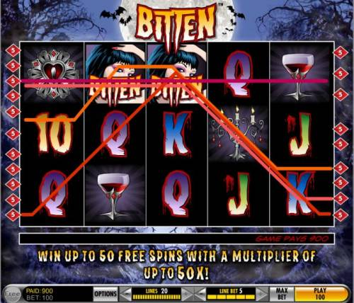 Bitten Review Slots two wild symbols combine to trigger a 900 coin multiline big win