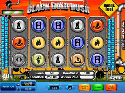 Black Gold Rush Review Slots Main game board featuring five reels and 50 paylines with a $25,000 max payout