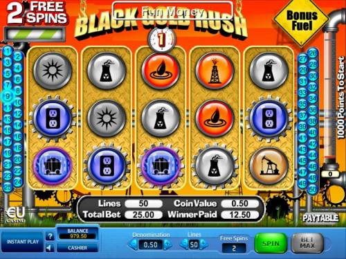Black Gold Rush Review Slots a pair of scatter symbols triggers two free spins