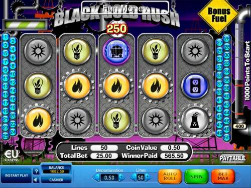 Black Gold Rush Review Slots Multiple winning paylines triggers a 565.50 big win!