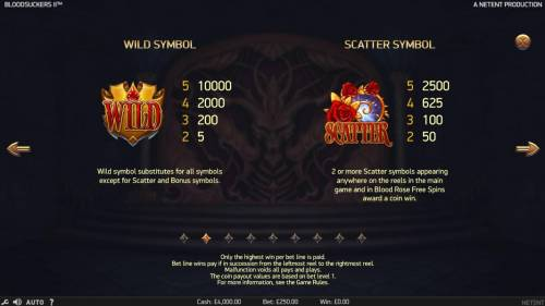 Blood Suckers II Review Slots Wild symbol substitutes for all symbols except scatter and bonus symbol. A winning five of a kind pays 10000 coins. 2 or more scatter symbols appearing anywhere on the reels in the main game and in Blood Rose Free Spins award a coin win.