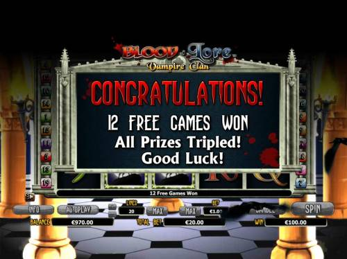 Blood Lore Vampire Clan Review Slots 12 free games awarded with all prizes tripled.