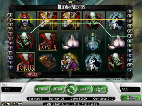 Blood Suckers Review Slots wild symbol triggered 500 coin jackpot payout
