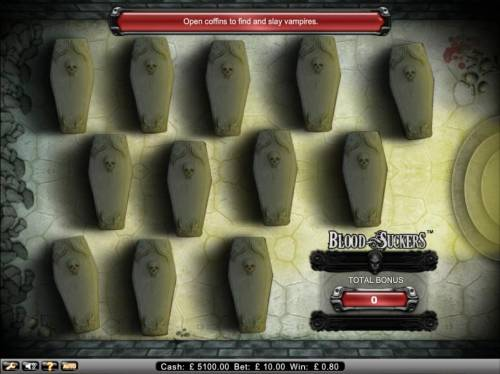 Blood Suckers Review Slots open coffins to find and slay vampires. collect jackpot with each slaine vampire