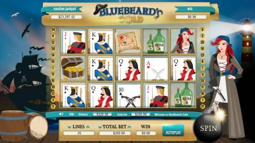 Bluebeard's Gold Review Slots Main game board featuring five reels and 25 paylines with a $100,000 max payout