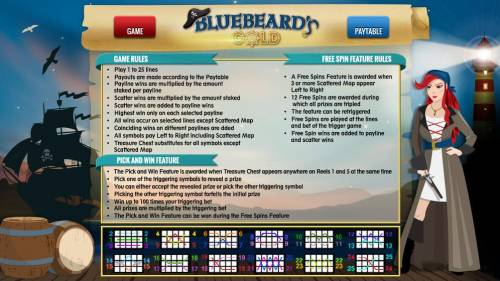 Bluebeard's Gold Review Slots General Game Rules - Free Games Feature - Pick and Win Feature - Payline Diagrams 1 - 25