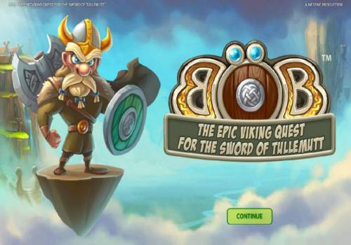 Bob The Epic Viking Quest for the Sword of Tullemutt Review Slots Splash screen - game loading - Based on a Viking theme.