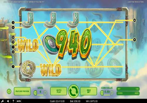 Bob The Epic Viking Quest for the Sword of Tullemutt Review Slots Three wild symbols trigger multiple winning paylines leading to a 940 coin big win!