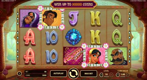 Bollywood Story Review Slots Main game board based on an Indian cultural theme, featuring five reels and 9 paylines with a $900,000 max payout