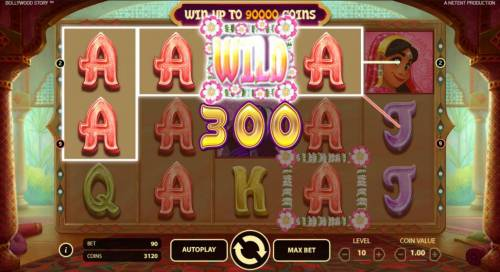Bollywood Story Review Slots A flowating wild symbol triggers a 300 coin payout.