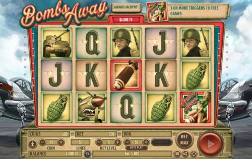 Bombs Away Review Slots Main game board featuring five reels and 50 paylines with a $2,500,000 max payout.