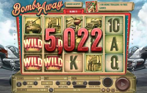 Bombs Away Review Slots A whoopping 5,022 coins jackpot triggered by multiple winning paylines