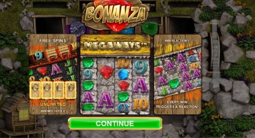 Bonanza Megaways Review Slots Game feaures include Free Spins, Unlimited Win Multiplier, Megaways and Win Reactions.